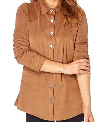 Camisa efecto ante color camel a 28€ en lugar de 79€